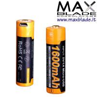 FENIX Batteria Ricaricabile 14500 1600 mAh Protetta con Micro USB incorporata