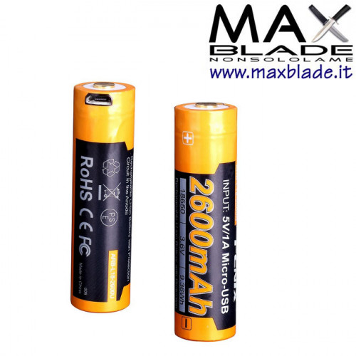 FENIX Batteria Ricaricabile 18650 2600 mAh Protetta con Micro USB incorporata