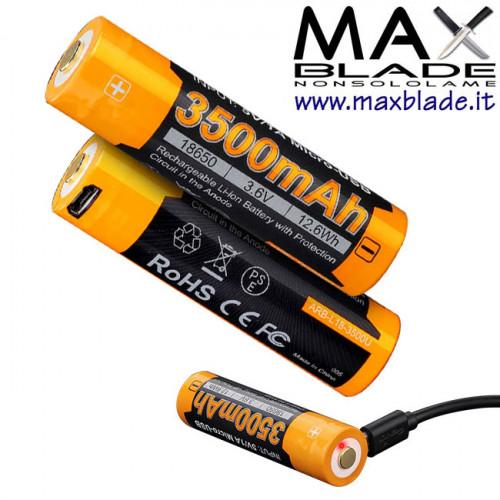 FENIX Batteria Ricaricabile 18650 3500 mAh Protetta con Micro USB incorporata