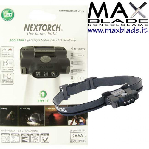 NexTORCH Torcia Frontale Eco Star 30 lumens